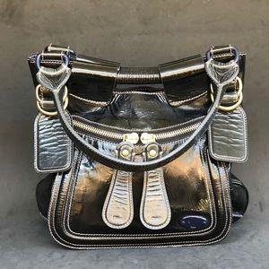 CHLOE Bay Shoulder Black Patent leather hobo
